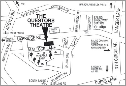 Map showing The Questors Theatre, Ealing, West London, W5